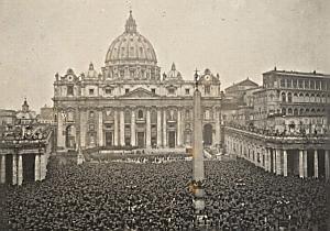 Umbrella Rainy Day Vatican Italy France Old Photo 1930