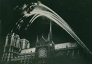 Notre Dame de Paris by Night France Old Photo 1965
