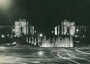 Palais de Chaillot by Night Paris France Old Photo 1965