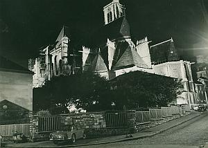 Eglise St Gervais by Night Paris France Old Photo 1965