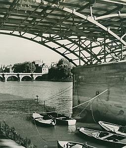 Boats on Seine River Bridge Paris France Old Photo 1965