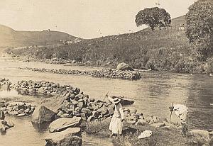 Spear Fishermen River Madagascar Old Diez Photo 1924