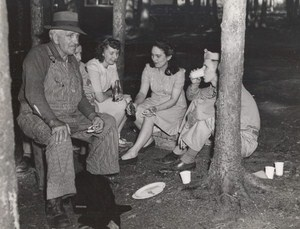 Maine WWII Picnic Party US Army Airfield Presque Isle Photo 1943