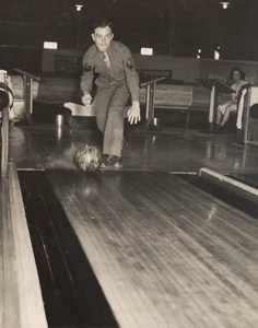 Maine WWII Playing Bowling US Army Airfield Presque Isle Photo 1943
