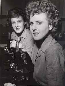 Maine WWII Women in Lab Microscope US Army Airfield Presque Isle Photo 1943