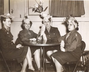 Maine WWII Women Hat Party US Army Airfield Presque Isle Photo 1943