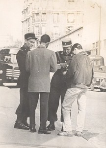 France Algerian War Policemen checking ID in Paris old Photo 1958
