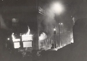 March Against Communist Party HQ in Flames Paris France old Photo 1956
