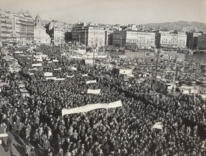 Miners Demonstration Mining Marseille France old Photo 1963
