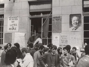 Students Sorbonne Occupation Protests Mao Portrait France old Photo May 1968
