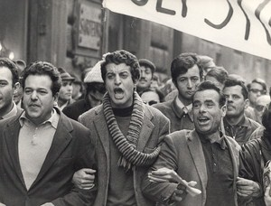 Workmen & Students Demonstration Roma Italy Old Photo 1968