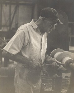 Wood Turner at Work Occupational Old Photo 1960