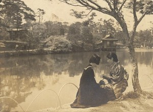 Romantic Scene 2 Girls by Pond Fashion Japan Sendai Old Photo 1910