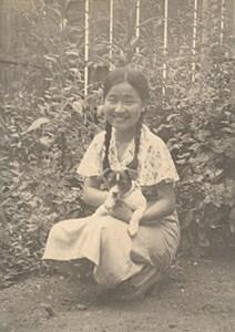 Portrait Young Lady Fashion Dog Pet Japan Sendai old Photo 1910