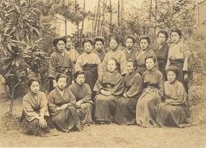 Portrait School Teachers Women Group Fashion Japan Sendai old Photo 1910