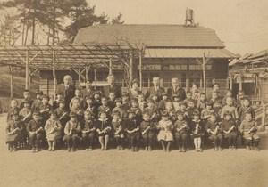 Portrait School Teacher Children Group Japan Sendai old Photo 1930