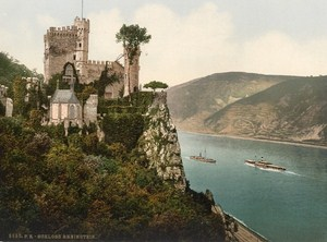Schloss Rheinstein Germany Old PZ Photochrom 1900