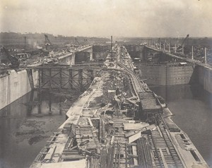 Panama Canal Works Gatun Locks Construction Old Photo 1912