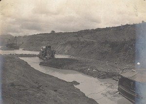 Panama Canal Works Culebra Cut Old Photo 1915