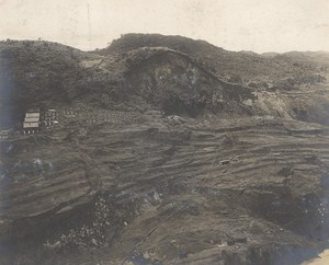 Panama Canal Works Culebra Slide Old Photo 1915