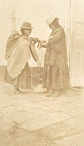 Bolivia Guaqui Village Women Old Snapshot Photo 1910