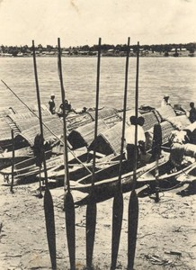 Africa River Boats Paddle old Photo 1950