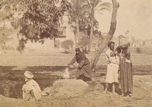 Tunisia Peasant at Water Point Old Albumen Photo 1880
