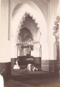 Tunisia Tunis Mosque Prayer Old Albumen Photo 1880