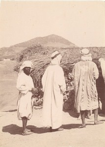 Tunisia Men Group Old Ethnic albumen Photo 1880