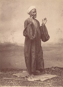 Tunisia Arab man in Prayer Old Albumen Photo Fiorillo 1880