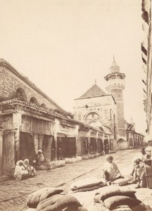 Tunisia Tunis Old Souk Souq Market Old Albumen Photo 1880