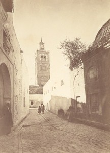 Tunisia Tunis Mosque Street Old Albumen Photo 1880