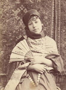 Turkey Young Girl with Fan Fashion Old Albumen Photo 1880
