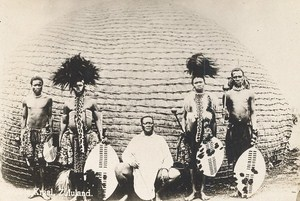 South Africa Kraal Zululand Zulu Warrior Group Old Photo 1900