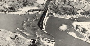 Vietnam War Tacoum Dam Destroyed French Aerial Photo 1950