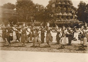 Cambodia King Royal Dancing Girls Sisowath Old Photo 1930