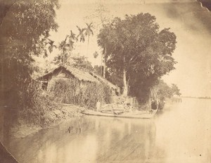Indochina Mekong Delta Barge House Old Gsell Photo ca 1870
