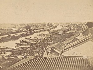 Indochina Mekong Delta Busy River Ships Barges Old Gsell Photo ca 1870