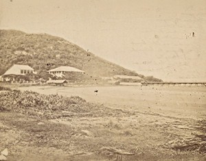 Indochina Mekong Delta House Jetty Old Gsell Photo ca 1870
