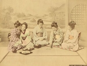 Japan Girls Playing Cards Tea Cups Old Photo 1880