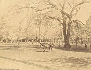 Japan Tokyo View of Uyeno Rickshaw Old Photo 1880