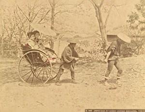 Japan Tokyo Jinrikisha Mukojima Avenue Old Photo 1880