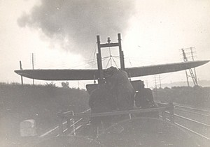 France WWI Hanriot Plane on Train Aviation Old Photo 1916