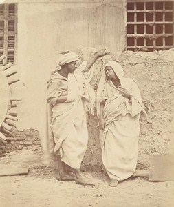 Egypt Cairo Fellah & Wife Old Albumen Ethnic Photo 1880