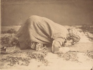 Egypt Cairo Old Man Muslim Prayer Study Old Albumen Photo 1880