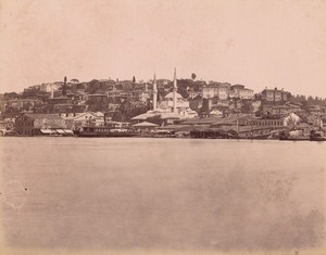 Turkey Istanbul Mosque Boats Old Albumen Photo 1880