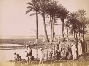 Egypt Egyptians Fellah along the Nile Old Ethnic Photo 1880