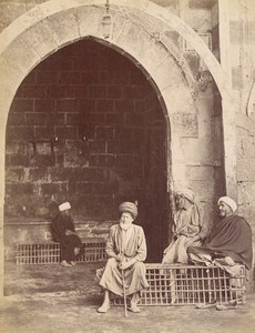 Egypt Cairo Blind Men at Mosque Entrance Door Old Photo 1880
