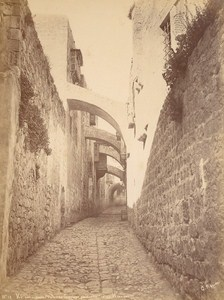 Israel Jerusalem Via Dolorosa Old Saboungi Albumen Photo 1890