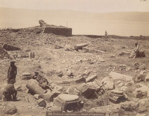 Israel Capernaum Farmers on Ruins Old Photo 1890